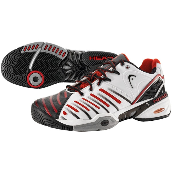 Head Men's Prestige Pro II Tennis Shoes (White/Black/Red)