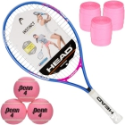 HEAD Instinct Junior Tennis Racquet, 3 Pink Tennis Balls, 3 Pink Overgrips - Head Junior Tennis