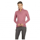 BloqUV Women's Sun Protective Mock Zip Long Sleeve Athletic Top (Dusty Rose) - Tennis Online Store