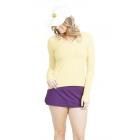 BloqUV Women's Sun Protective Mock Zip Long Sleeve Athletic Top (Lemon Yellow) -