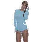 BloqUV Women's Reflective Waist Long Sleeve Sun Protective Athletic Top (Light Turquoise) - Tennis Online Store
