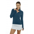 BloqUV Women's Sun Protective Mock Zip Long Sleeve Athletic Top (Midnight Blue) - Tennis Online Store