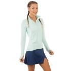 BloqUV Women's Sun Protective Mock Zip Long Sleeve Athletic Top (Mint) -