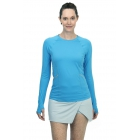 BloqUV Women's Reflective Waist Long Sleeve Sun Protective Athletic Top (Ocean Blue) - Women's Warm-Ups