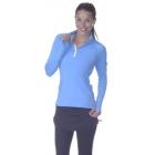 BloqUV Women's Sun Protective Mock Zip Long Sleeve Athletic Top (Ocean Blue) -