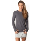 BloqUV Women's Sun Protective Long Sleeve Athletic Pullover Tee Shirt (Smoke) - Women's Warm-Ups