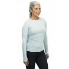BloqUV Women's Reflective Waist Long Sleeve Sun Protective Athletic Top (Soft Gray) - Tennis Online Store