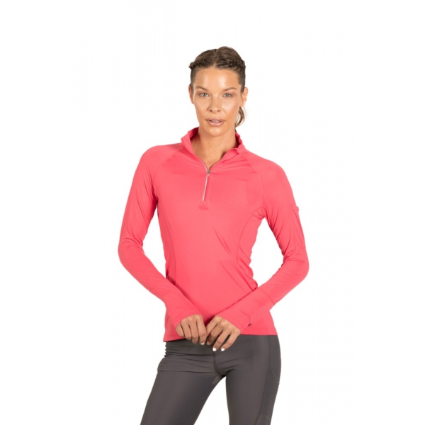 BloqUV Women's Sun Protective Mock Zip Long Sleeve Athletic Top (Tickle Me Pink)