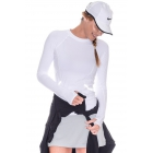 BloqUV Women's Reflective Waist Long Sleeve Sun Protective Athletic Top (White) - Tennis Online Store