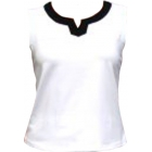 In-Between Plaket Tennis Tank (Wht/Blk) - In-Between Women's Tops and Tanks Tennis Apparel