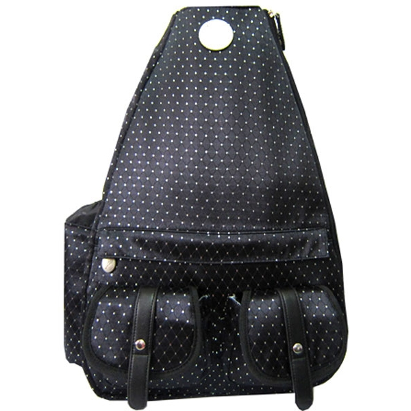 Jet Black Dot Small Sling Convertible Tennis Bag