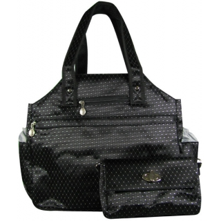 Jet Black Dot Tennis Tote