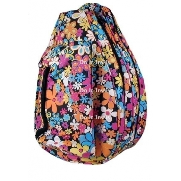 Jet Flower Power Black Knock Off Tennis Backpack