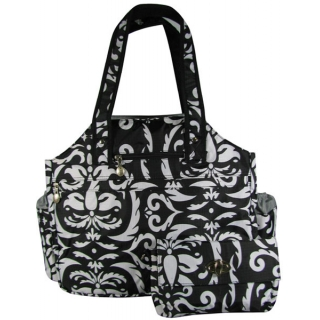 Jet Paisley Black & White Tennis Tote