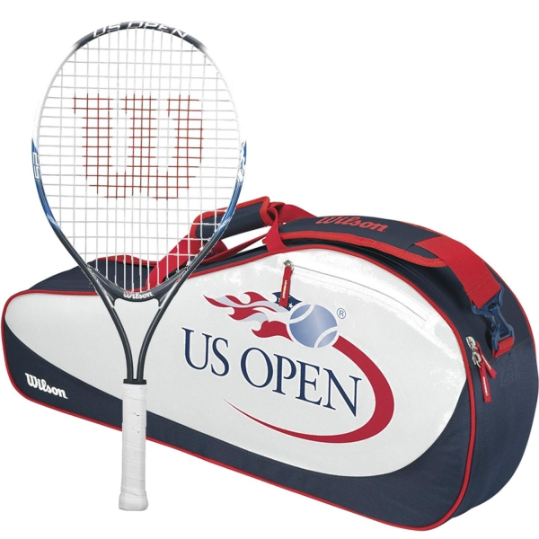 Wilson US Open Junior Tennis Racquet bundled with a US Open 3 Racquet Tennis Bag