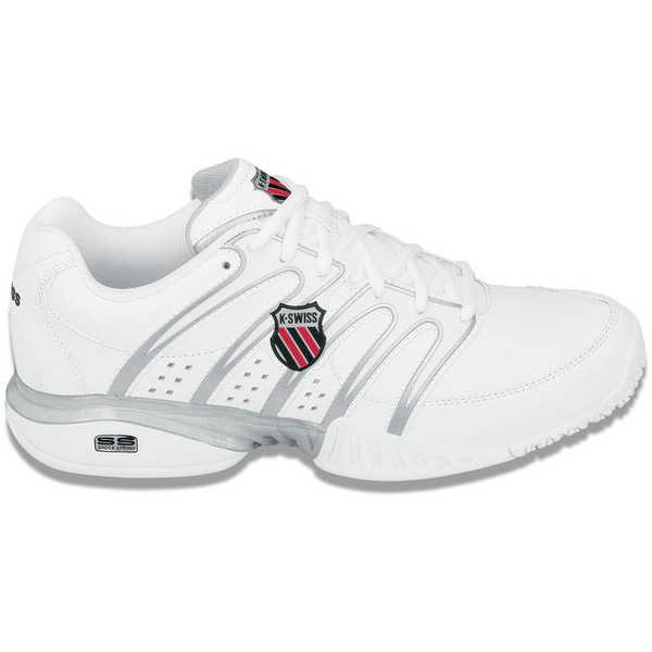 K-Swiss Men's Approach II Tennis Shoes (Wht/ Blk/ Sil)