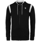 K-Swiss Men's Stitched Hoody (Blk/ Wht) - Men's Outerwear Warm-Ups Tennis Apparel
