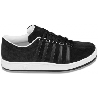 K-Swiss Men's The Classic Suede Tennis Shoe (Black/ White)