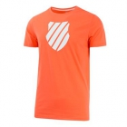 K-Swiss Men's Logo Tennis Tee (Neon Blaze/White) - Tennis Apparel Brands