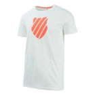 K-Swiss Men's Logo Tennis Tee (White/Neon Blaze) - Tennis Apparel Brands
