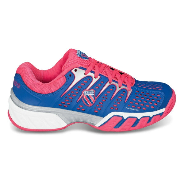 K-Swiss Women's Bigshot II Tennis Shoes (Daphne Blue/ Neon Red/ White)