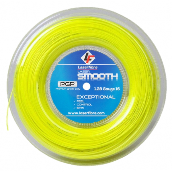 Laserfibre Laser Smooth 16g Optic Yellow Tennis Racquet String (Reel)