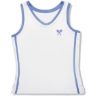 Little Miss Tennis Classic Tank (White/ Lavender) - Tennis Apparel Brands