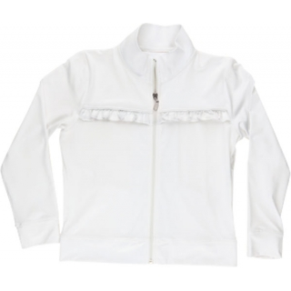 Little Miss Tennis Jacket w Ruffle and Side Pockets (Wht)