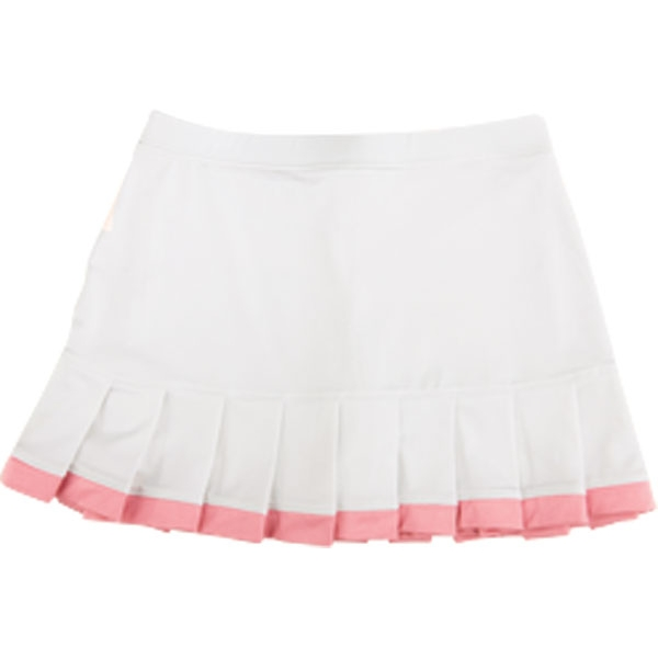 Little Miss Tennis Pleated Skirt w Bikers (Wht/ Coral)