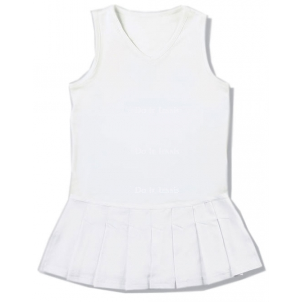 Little Miss Tennis Pleated Sleeveless Dress w/o Crest (White)