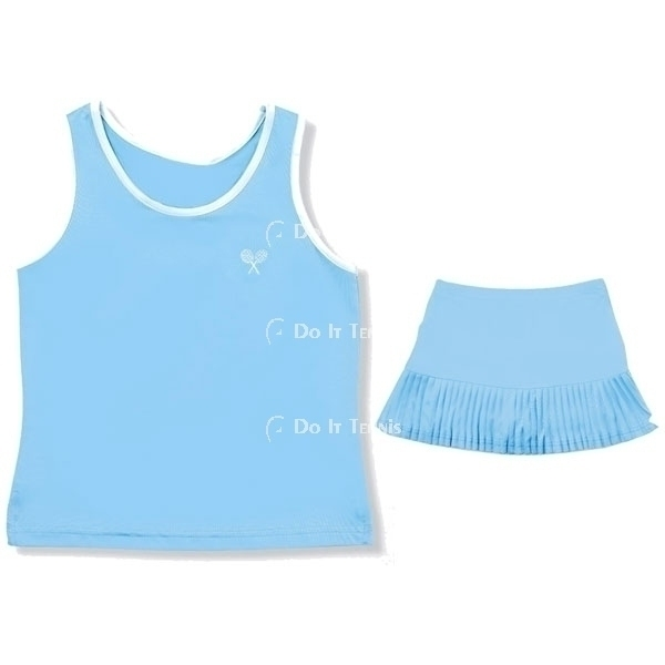 Little Miss Tennis Poly Tank (White w. Navy Crest)