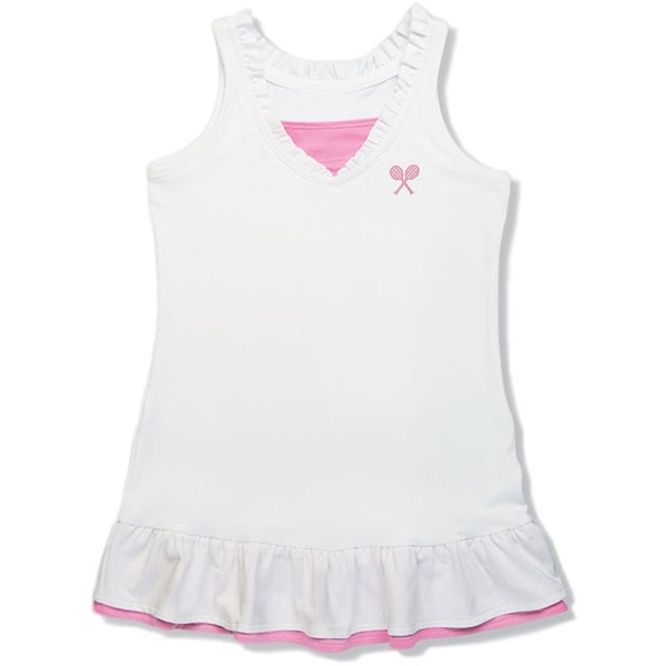 Little Miss Tennis Ruffle Sleeveless Dress (White/ Pink)