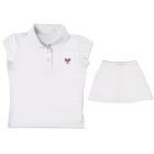 Little Miss Tennis Sleeveless Polo (White/ Red) - Girls's Tennis Apparel