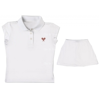 Little Miss Tennis Sleeveless Polo (White/ Red)