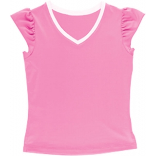 Little Miss Tennis V-Neck Ruffle Tee (Pnk/ Wht)