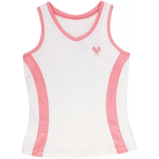 Little Miss Tennis V-Neck Tank (Wht/ Coral)