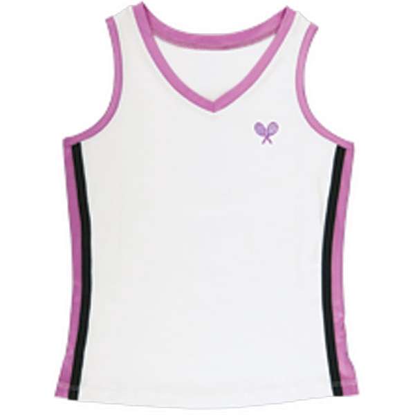Little Miss Tennis V-Neck Tank (Wht/ Fus/ Blk)