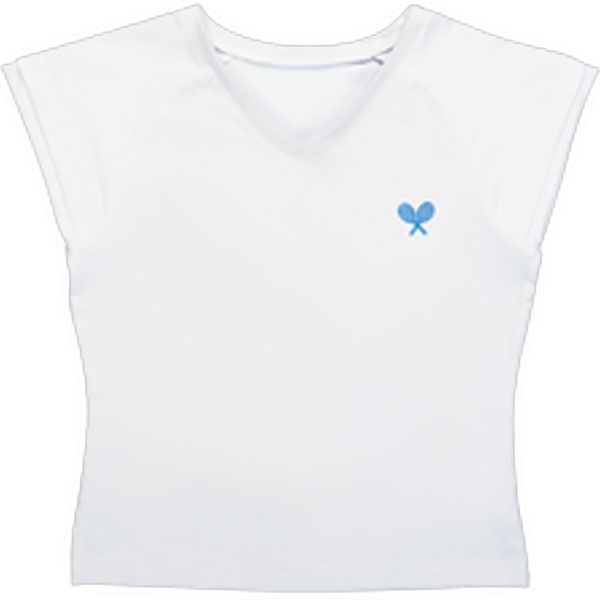 Little Miss Tennis V-Neck Tee (Wht/ Blu)