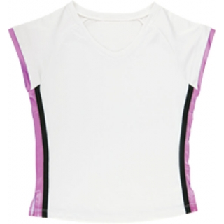 Little Miss Tennis V-Neck Tee (Wht/ Fus/ Blk)