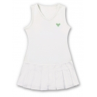 Little Miss Tennis Sleeveless Pleated Dress (Wht/ Lime) - Girl's Dresses Tennis Apparel