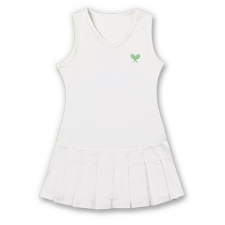Little Miss Tennis Sleeveless Pleated Dress (Wht/ Lime)