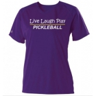 Pickleball Rocks Women's Top Live Laugh Play (Purple) - Tennis Court Equipment
