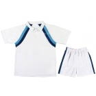 LMT Classic Polo (White/ Navy/ Blue) - Boy's Tennis Apparel