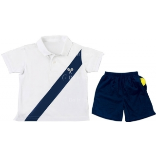 LMT Little Boys Cotton Polo (White/ Navy)
