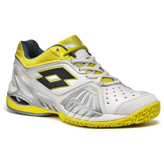 Lotto Women's Raptor Ultra IV Clay Tennis Shoes (White/ Silver/ Yellow)