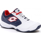 Lotto Men's Space 600 II ALR Tennis Shoe (All White/Navy Blue/Red Poppy) - Lotto Tennis Shoes