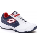 Lotto Men's Space 600 II ALR Tennis Shoe (All White/Navy Blue/Red Poppy) - Lightweight Tennis Shoes