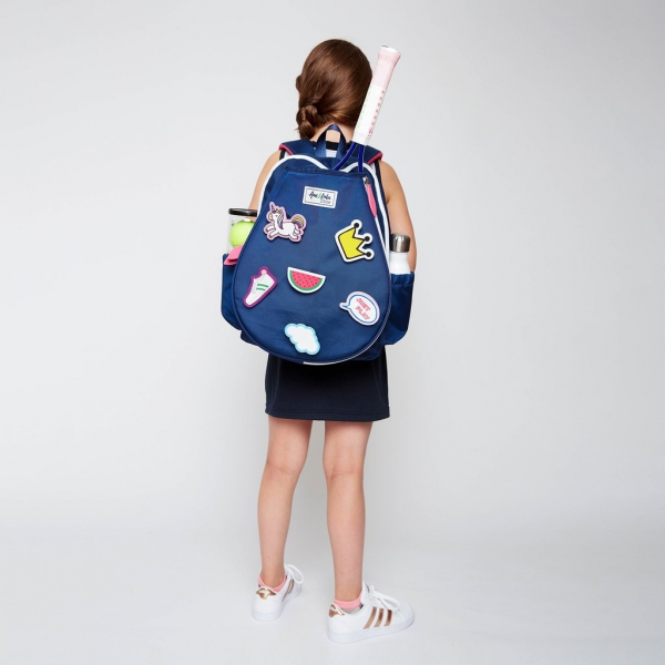 Ame & Lulu Little Love Patches Tennis Backpack (Navy/Pink)