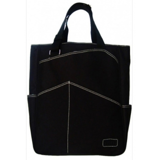 Maggie Mather Tennis Tote with Zipper Closure (Black)