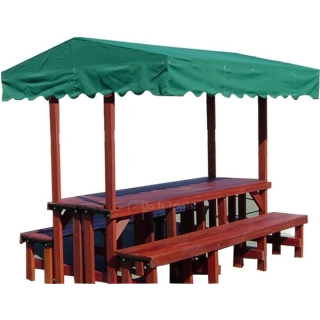 Mangaris Wood Double Bench & Double Table Gazebo #3325